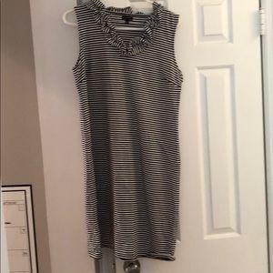 Black and white striped sleeveless dress